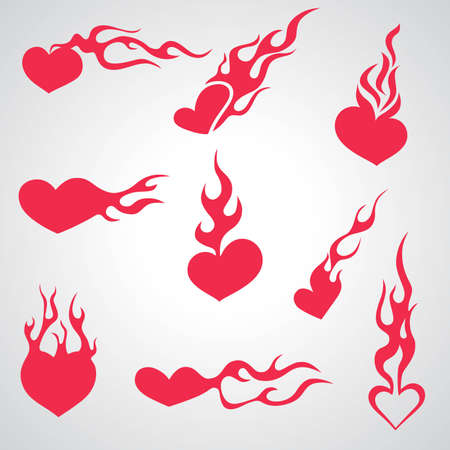 red love heart with flames: rojo quema el coraz�n  Vectores