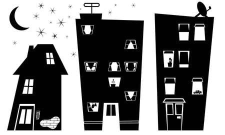 silhouette maison: Silhouette de la ville de nuit