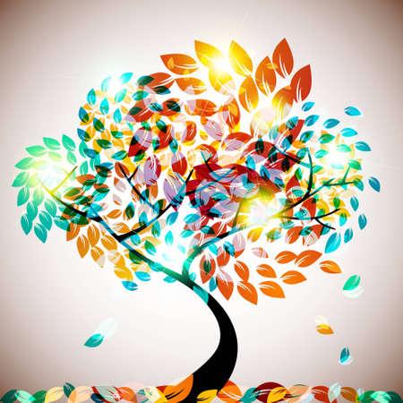 autum: shining tree
