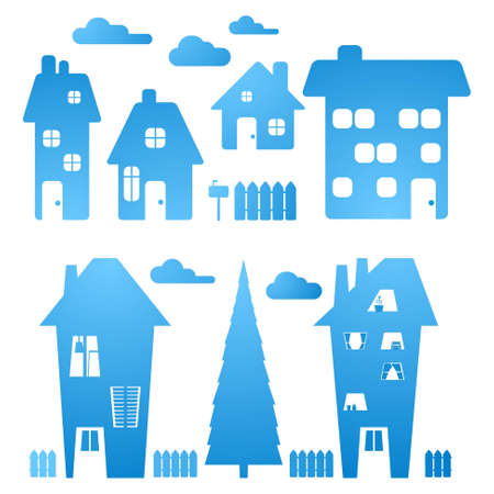 set of blue houses Vector