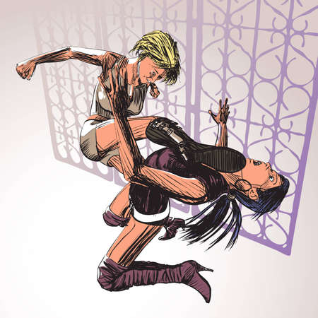 Two Girl Fight Comic Art Vector