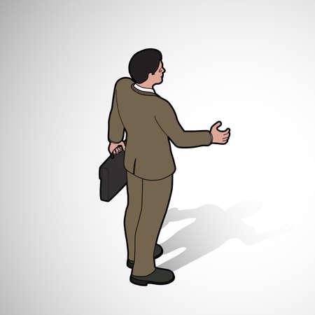 Isometric man shaking hand - back pose