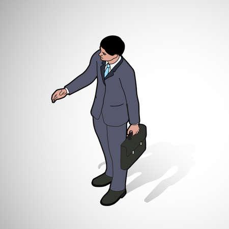 Isometric man shaking hand - front pose