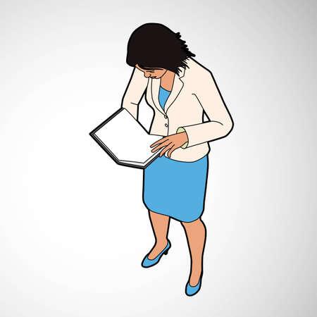 Isometric Woman Reading Book Illustration