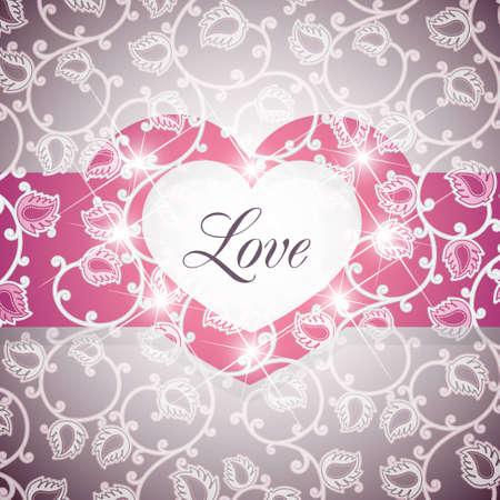 Love Heart Floral Background Vector Illustration Vector