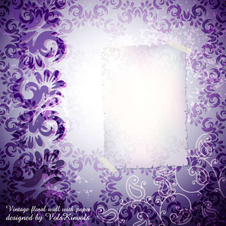 paperhanging: Vintage Floral Wall with Blank Old Paper