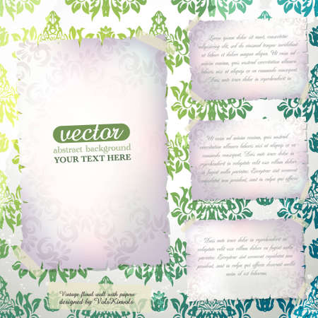 paperhanging: Vintage Damask Wallpaper with Space for Text Illustration