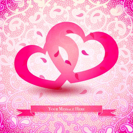 Two Hearts Vector Illustration with Space for Your Message Vector