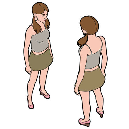 Isometric woman front and back pose Illustration