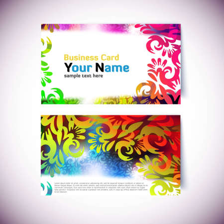 Colorful Gift or Business Card Template - front and back side Vector