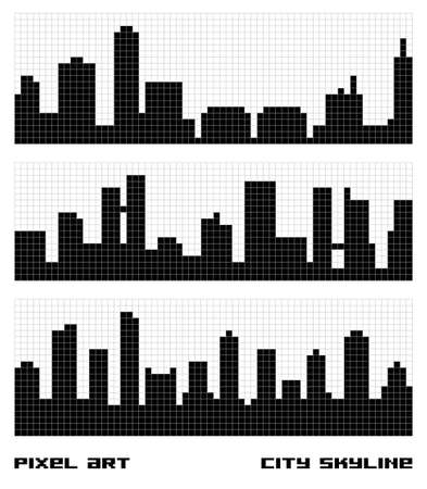 Pixel Art City Skyline Vector