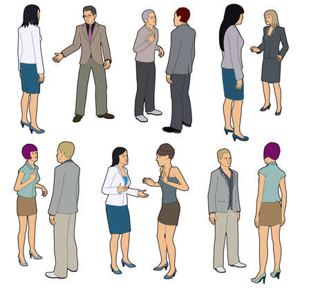 people discuss: Talking people Illustration