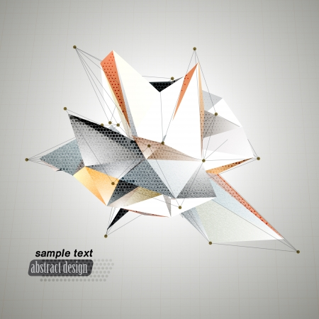 Abstract 3D triangles vector background Vector
