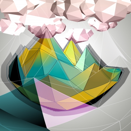 Abstract 3D triangles low polygons vector background Illustration