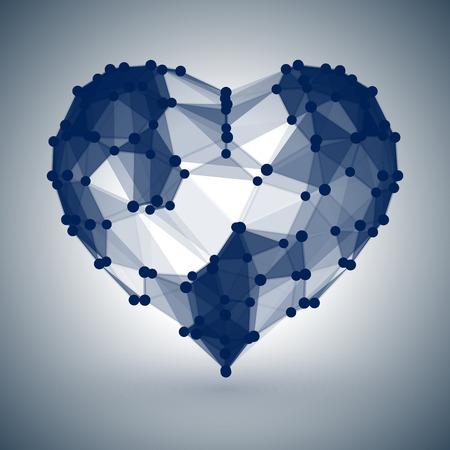 Dark Blue Heart, low polygonal design with dots Illustration