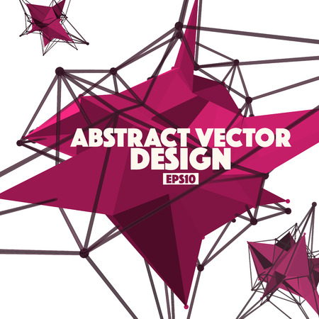 Low Poly Abstract Background Vector Element with Connection Lines Illustration