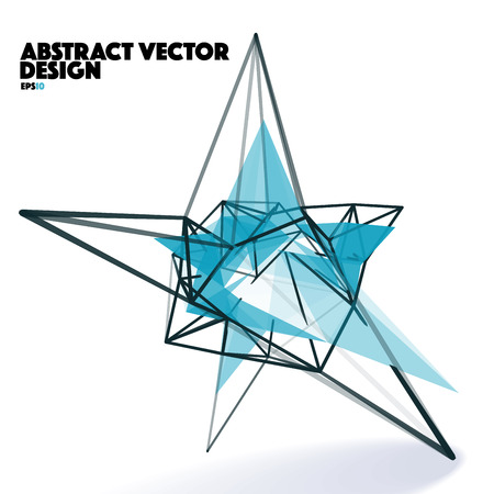 Low Poly Abstract Vector Design Element with Connection Lines