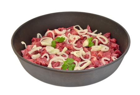 Raw beef in a frying pan