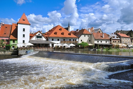 Cesky Krumlov, Czech Republic, view from the embankment Editorial