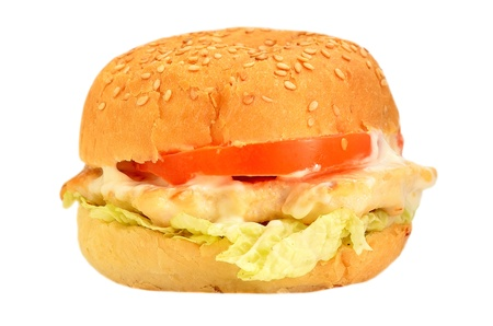 Hamburger with chicken meat on a white background Stock Photo