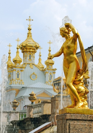 The fountain Grand Cascade in Peterhof, Russia Editorial