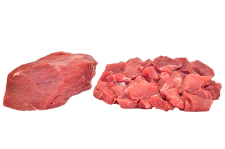 Raw beef meat isolated on white background photo