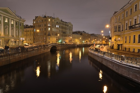 The historical part of St. Petersburg, Russia, at night Stock Photo