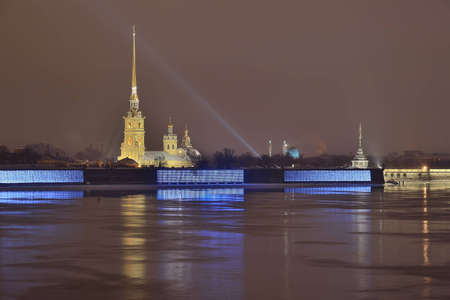 The Peter and Paul Fortress in St. Petersburg, Russia at night