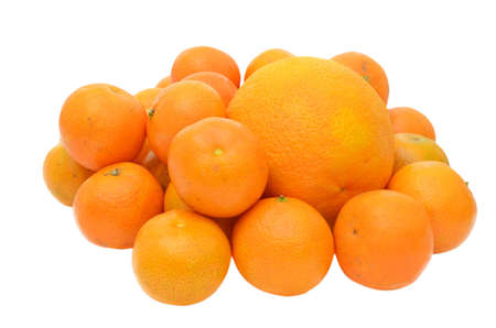 Tangerines and orange isolated on white background Stock Photo