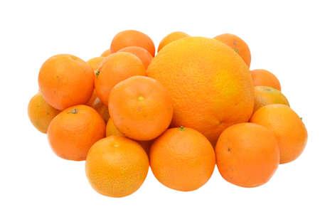 Tangerines and orange isolated on white background Stock Photo