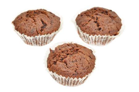 Chocolate cakes isolated on white background photo
