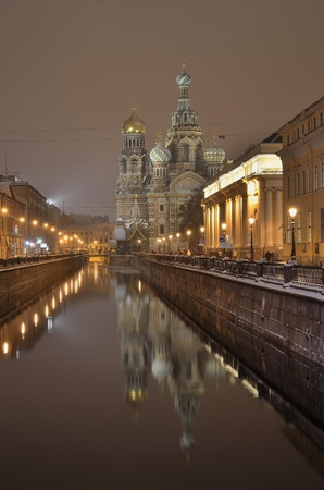 Griboedov Canal in St-Petersburg, Russia at night Editorial