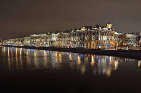 The Winter Palace in St  Petersburg, Russia in the night illumination