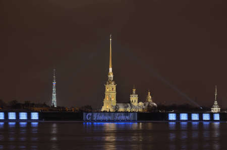 The Peter and Paul Fortress in St  Petersburg, Russia at night