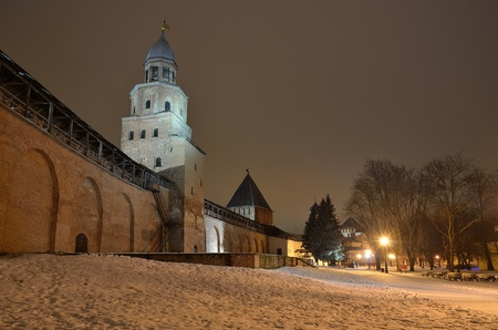 The Kremlin in Veliky Novgorod, Russia at night photo
