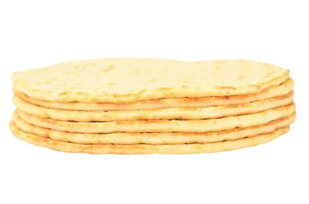 Stack of pitas isolated on white background
