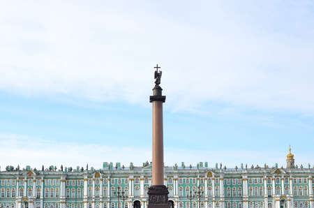 Alexander column on the Winter palace background in S-Petersburg, Russia Editorial