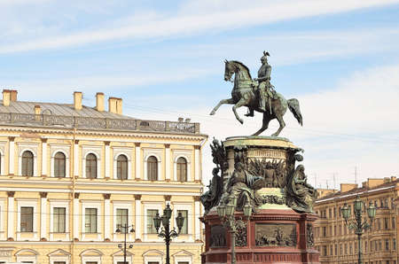 Monument to Nicholas I on Isaakievskaya Square in St-Petersburg, Russia Editorial