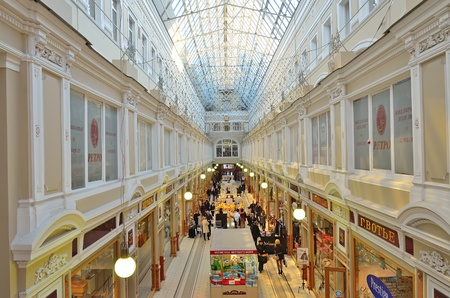 PETERSBURG - MARCH - 25: The Passage shopping mall interior. Opened in 1848,Modern Pasage - this is an architectural monument and a modern shopping center with centuries of tradition. Is an elite department store on Nevsky Avenue in Saint Petersburg, Russ