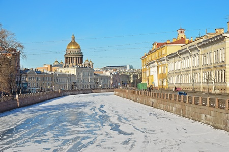 The historical part of St  Petersburg, Russia, in the winter - a view from the embankment