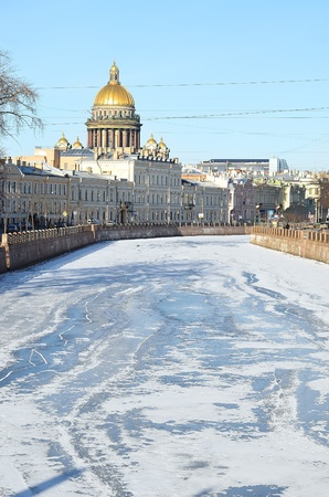 The historical part of St  Petersburg, Russia in a winter - a view from the embankment Editorial
