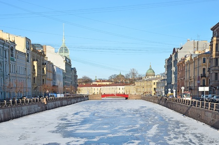The historical part of St  Petersburg, Russia, in a winter - a view from the embankment photo