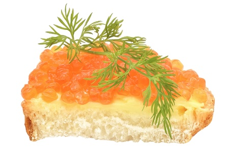 Sandwich with red caviar and dill isolated on white background photo
