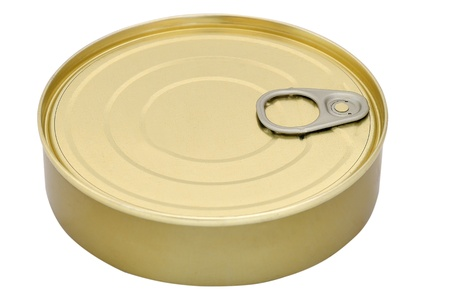 Tin can isolated on white background photo