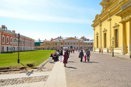 PETERSBURG-APRIL-30  territory of the Peter and Paul Fortress in Petersburg, Russia on April 30,2012  Daily at 12 00 from the Naryshkin bastion of the fortress heard a shot gun  This tradition has the story from the times of Peter I