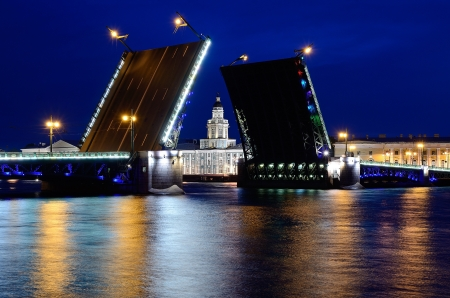 View of the River Neva and the Palace Bridge in St  Petersburg, Russia in a white night Stock Photo - 14163409
