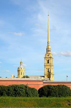 Fragment of the Peter and Paul Fortress in St  Petersburg, Russia