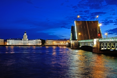 Nigth view of the Neva river and the raised Palace Bridge in St  Petersburg, Russia Stock Photo - 14350707
