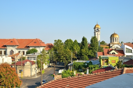 Top view of the church and the street in Constanta, Romania Stock Photo