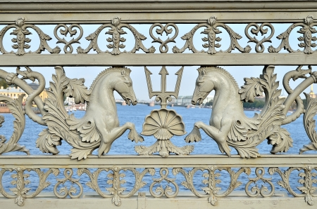 blagoveshchensky: Detail of decorative fence of ancient Blagoveshchensky  Annunciation  bridge in St  Petersburg, Russia